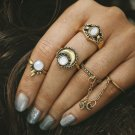 5pcs/Set Boho Beach Flower Tibetan Moon And Sun Midi ring Sets for Women Knuckle Siamese brinco Chai