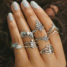 Hollow Turkish Hand Ring Sets Anillos 2017 New Geometric Silver Color Elephant Knuckle Ring for Wome