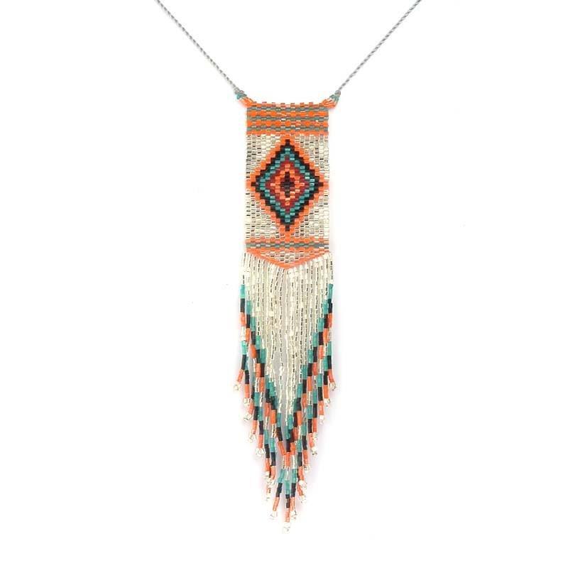 Boho Handmade Bijoux Femme Necklace Long Bohemian Tassel Pendant Color Necklace Pendant for Women
