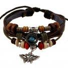 Women Men Butterfly Beads Leather Chain Charms Bracelet Jewelry Wrist Gift