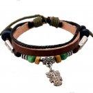 Women Men Beads Owl Leather Chain Charms Bracelet Jewelry Wrist Gift