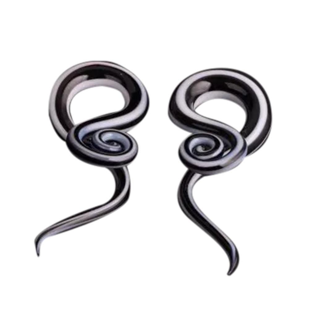Black  Women Snail Spiral Glass Hook Taper Ear Plugs Earring Expander Stretcher Exotic 5mm, 6mm, 8mm