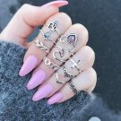 New Bohemia Vintage Jewelry Unique Carving Tibetan Gold Color Midi Ring Set for Woman 10PCS/Set Punk