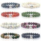 GAGAFEEL Natural Stone Beads Bracelets Women Men Jewelry Semi-precious Red Stripe India Nature Charm