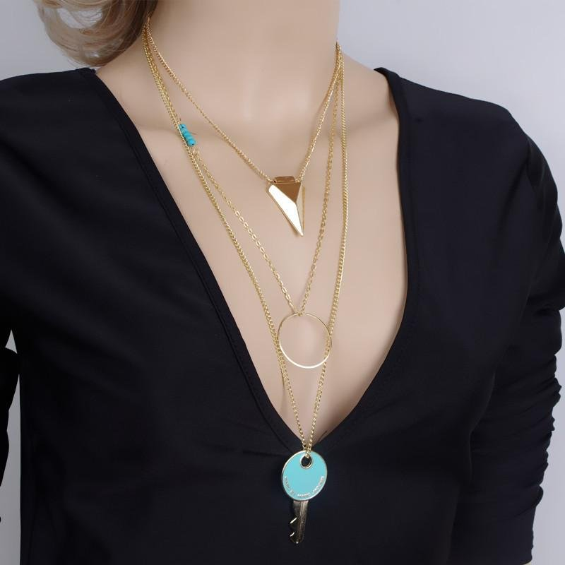 1PC  Womens Pierced Multilayer Crystal Pendant Chain Statement Necklace