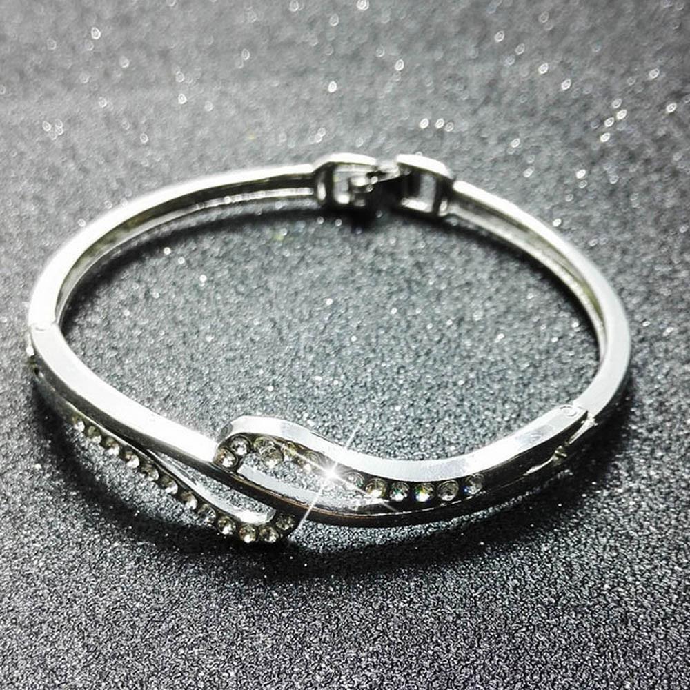 New Fashion Women Lady Crystal Cuff Bangle Charm Rhinestone Bracelet