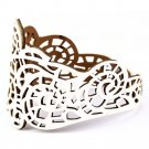 Vintage Women Punk Style Hollow Out Flower Wide Bangle Cuff Leather Bracelet