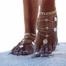 2017 New Fashion Summer Sexy Silver Tassel Anklet for women Coin Pendant Chain Ankle Bracelet Foot J