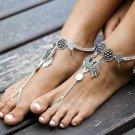 1pc Bohemian Antique Silver Color Hollow Flower Ankle Bracelet 2017 Women Beach Barefoot Sandals Foo