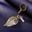 Brass leaf pendant for key Leather keychain keyring key chain ring holder cover for men\'s car keys