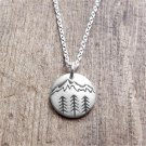 PINKSEE Pine Tree Charm Under the Mountain Necklace Camping Jewelry Outdoor Gifts For Woman Man Unis