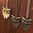New Arrivals 3 Color Vintage Lovely  Owl Pendant Necklace Long Sweater Chain Golden Antique Silver B