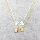 GORGEOUS TALE Stainless Steel Chain Jewelry Double Hand Love Heart Necklaces Pendants for Women Gold