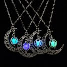 Vintage Jewelry Silver Plated with Glow In the dark Crescent Loket Moon Shaped Choker Pendant  Necka