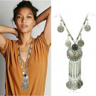 Bohemian Vintage Coin Long Pendant Necklace Silver Plated Chain Gypsy Tribal Ethnic jewelry Tassel N