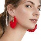 JUJIA 12 colors cotton tassel drop earring Jewelry Hot Selling Elegant matel fringe Earrings for Wom