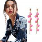 JUJIA Pom Pom Earring Fashion Women Statement Tassel Earrings for women Drop Long Fringing Earrings