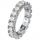 Classic Eternity Rings with full AAA Cubic Zirconia Pink Blue Purple Crystals Silver Plated Enternit