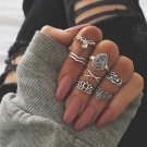 RscvonM 7pcs/set Fashion Vintage Punk Midi Rings Set 2018 Antique silver Color Boho Female Charms Je