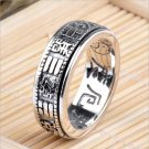 S925 Solid Thai Silver Tai Chi Bagua Rings for Women Men Jewelry 100% Real Genuine 925 Sterling Silv