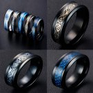 2017 New Fashion Men Cool Stainless Steel Black Dragon Design Rings High Quality Ring Jewelry Size 7