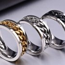 Queen New Trendy Jewelry Titanium Steel Men Women Finger Ring with Chain Inset Holiday Gifts Individ