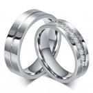 New Couple Engagement Ring Lovers Rings for Women and Men Stainless Steel Jewelry AAA+ CZ Stone Wedd
