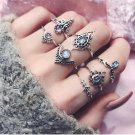Gold and Silver Colors Rings 7pcs/Set Women Bohemian Vintage Silver Stack Rings Above Knuckle Blue R