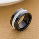 New 10MM Black and White 2 Row Crystal Ceramic Ring Women Engagement Promise Wedding Band Gifts For