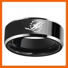MIAMI DOLPHINS FOOTBALL CHAMPIONSHIP TEAM BLACK 316L STAINLESS STEEL MEN RING JEWELRY