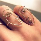 2pcs/set 2017 New Ethnic Metal Hollow Human Face Rings for Women Fashion Alloy Knuckle Rings for Fin