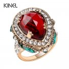 2017 New Luxury Vintage Wedding Rings For Women Red Crystal Color Antique Gold Punk Party Cocktail R