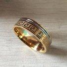Luxury large wide 8mm 316 Titanium Steel white yellow gold color greek key wedding band ring men wom
