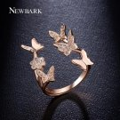 NEWBARK Lovely Ladies Butterfly Ring Rose Gold Color Open Rings For Women With Top Quality Cubic Zir