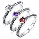 Wholesale 3 Colors Red Purple White Authentic Silver Ring Love Heart Rings Fashion Jewelry Woman Wed