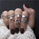 Free shipping! Europe bohemia ancient women crystal flower star crown 8 pcs ring sets new fashion en