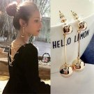 Fashion New Round Ball Long Chain Dangle Jewelry Trendy Earrings For Women Beauty Decoration