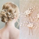 Fashion Bride Bridal Pearl Flower Rhinestone Crystal Hari Pin Stick Wedding Hair Accessories Romanti