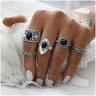 5PCS/Set Gold Silver Fashion Vintage Metal Black Rhinestone Crystal Hollow Rings Set Women Girl Part
