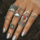 Bohemian Style 14pcs/Pck Vintage Anti Silver Color Rings Sun Moon Lucky Rings Set for Women Party Fr