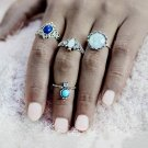 KISS WIFE Fashion New 4pcs/Set Silver crystal Midi Ring Sets for Women Boho Beach Vintage Turkish Pu