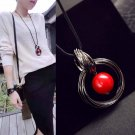 KISS WIFE New Hot New circles simulated pearl ball pendant long necklace women black chain fashion j