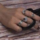 KISS WIFE 7 Pcs/Set Bohemia Midi Rings Retro Geometric Hollow Carved crystal moon Seven sets of ring