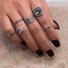 KISS WIFE  New Black gem 6pcs / sets Fashion Vintage Punk Midi Rings Set Retro Joint Rings Boho Bohe