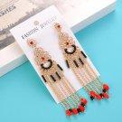 Vintage Ethnic Earring Pierced Flower Long Tassels Wedding Dangle Earrings For Women Statement jewel