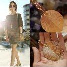 Women Lady Fashion Elegant Lucky Golden Big Leaf Pendant Necklace 70CM Long Sweater Chain Jewelry