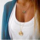 Yanqueens Fashion metal bar Wafer Beads Pendant 3 Layers Chain Necklace Chunky Women statement Choke