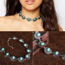 Boho Women Vintage Chic Magnificent Blue stone Choker Necklace Gifts jewelry for  Party Free shippin