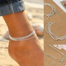 New Style Summer Double Layer Silver Beach Anklet Ankle Bracelet Barefoot Sandal Foot Jewelry Bohemi