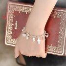 New Women 12 Charms Pendant Chain Bracelet Silver Plated Crystal Cross Heart Moon Stars Chain Barcel